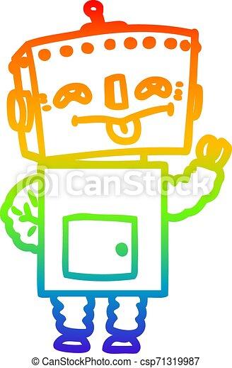 rainbow gradient line drawing cartoon robot - csp71319987