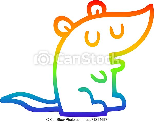 rainbow gradient line drawing cartoon mouse - csp71354687