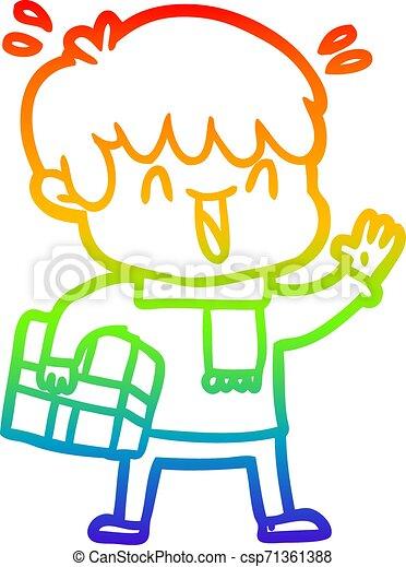rainbow gradient line drawing cartoon laughing boy - csp71361388