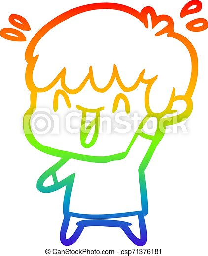 rainbow gradient line drawing cartoon laughing boy - csp71376181