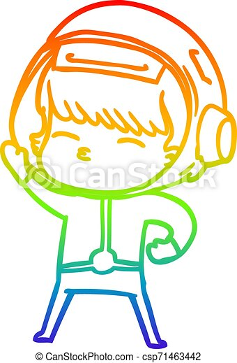 rainbow gradient line drawing cartoon astronaut - csp71463442