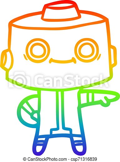 rainbow gradient line drawing cartoon robot - csp71316839