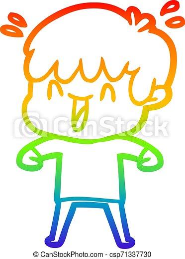 rainbow gradient line drawing cartoon laughing boy - csp71337730