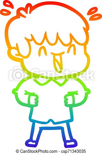 rainbow gradient line drawing cartoon laughing boy - csp71343035
