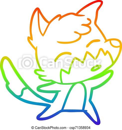 rainbow gradient line drawing cartoon fox - csp71358934