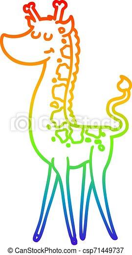 rainbow gradient line drawing cartoon giraffe - csp71449737