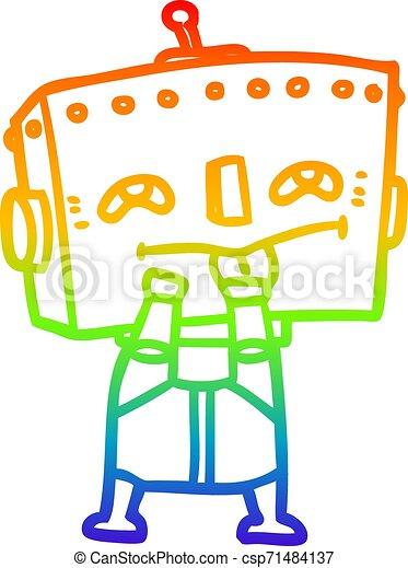 rainbow gradient line drawing cartoon robot - csp71484137