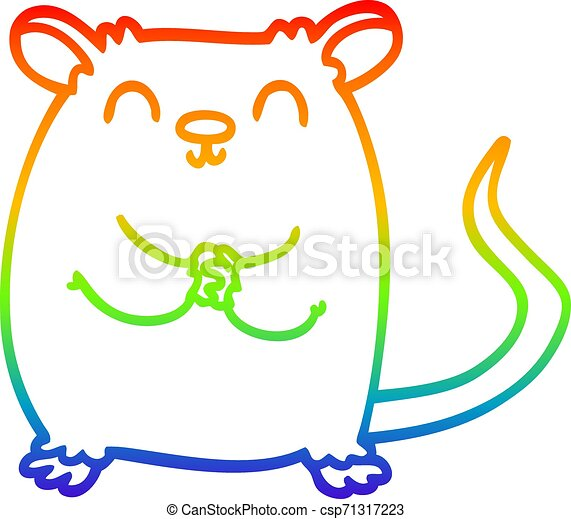 rainbow gradient line drawing cartoon mouse - csp71317223