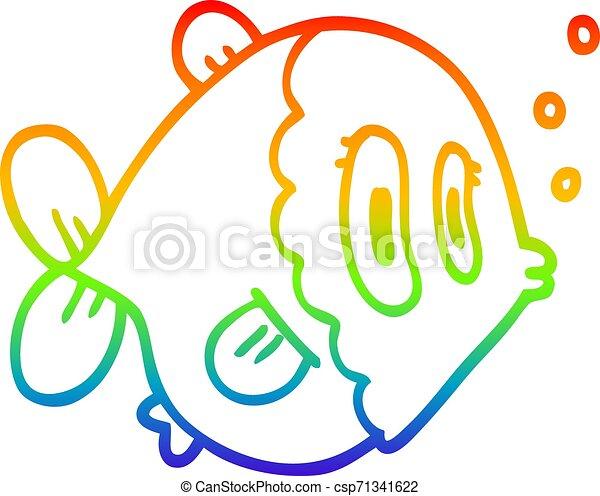 rainbow gradient line drawing cartoon fish - csp71341622