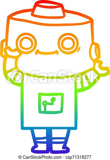 rainbow gradient line drawing cartoon robot - csp71318277