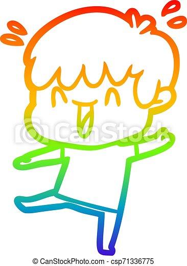 rainbow gradient line drawing cartoon laughing boy - csp71336775