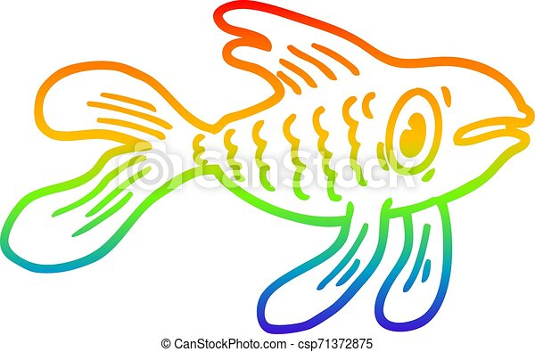 rainbow gradient line drawing cartoon fish - csp71372875