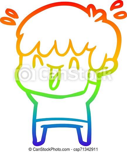 rainbow gradient line drawing cartoon laughing boy - csp71342911