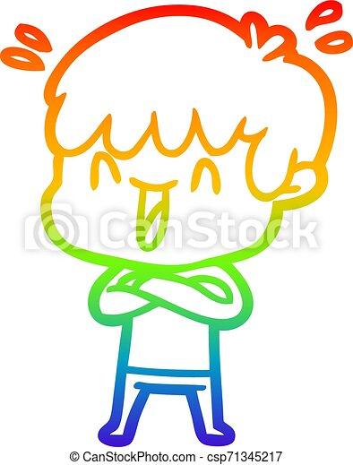 rainbow gradient line drawing cartoon laughing boy - csp71345217