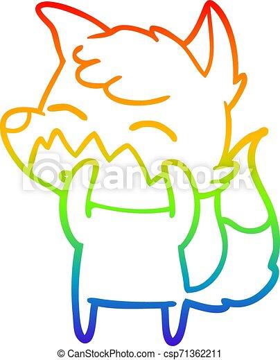 rainbow gradient line drawing cartoon fox - csp71362211
