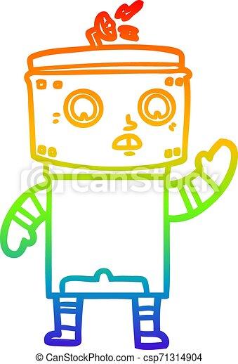 rainbow gradient line drawing cartoon robot - csp71314904