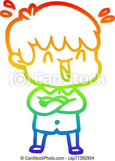 rainbow gradient line drawing cartoon laughing boy - csp71382904