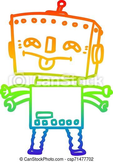 rainbow gradient line drawing cartoon robot - csp71477702