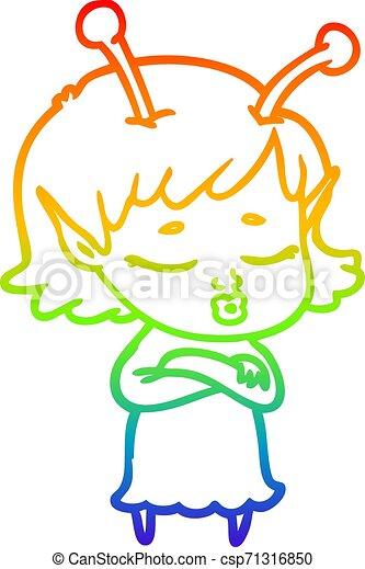 rainbow gradient line drawing cute alien girl cartoon - csp71316850