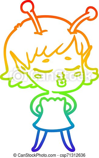 rainbow gradient line drawing cute alien girl cartoon - csp71312636