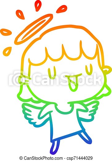 rainbow gradient line drawing cute angel - csp71444029