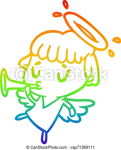 rainbow gradient line drawing cute angel - csp71369111