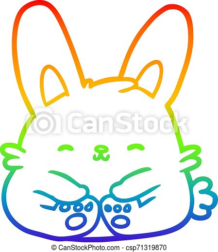 rainbow gradient line drawing cute bunny rabbit - csp71319870