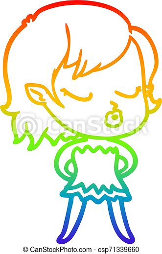rainbow gradient line drawing cute cartoon vampire girl - csp71339660