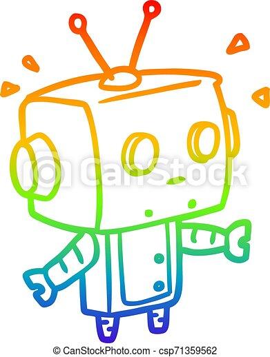 rainbow gradient line drawing cute surprised robot - csp71359562