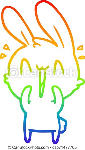 rainbow gradient line drawing cute cartoon rabbit - csp71477765