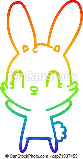 rainbow gradient line drawing cute cartoon rabbit - csp71337453
