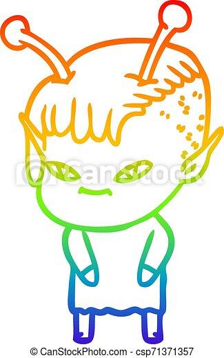 rainbow gradient line drawing cute cartoon alien girl - csp71371357