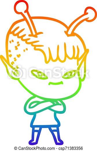 rainbow gradient line drawing cute cartoon alien girl - csp71383356