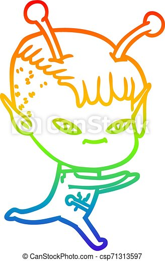 rainbow gradient line drawing cute cartoon alien girl - csp71313597