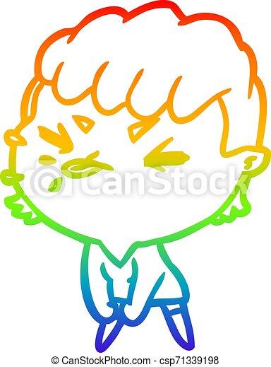 rainbow gradient line drawing cute cartoon rude girl - csp71339198