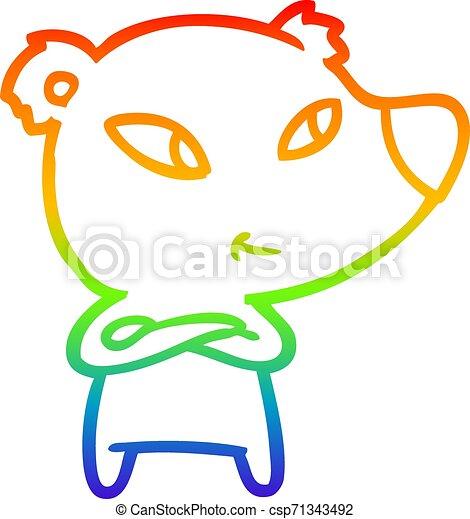 rainbow gradient line drawing cute cartoon bear - csp71343492