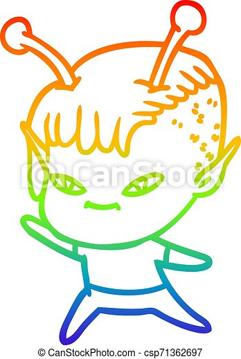 rainbow gradient line drawing cute cartoon alien girl - csp71362697
