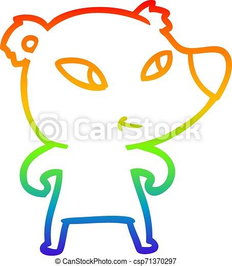 rainbow gradient line drawing cute cartoon bear - csp71370297