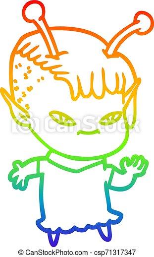 rainbow gradient line drawing cute cartoon alien girl - csp71317347