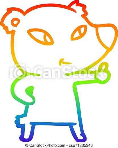 rainbow gradient line drawing cute cartoon bear - csp71335348