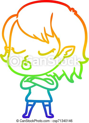 rainbow gradient line drawing cute cartoon vampire girl - csp71340146