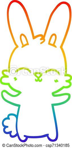 rainbow gradient line drawing cute cartoon rabbit - csp71340185