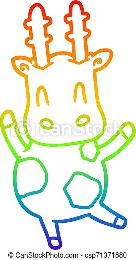 rainbow gradient line drawing cute giraffe - csp71371880