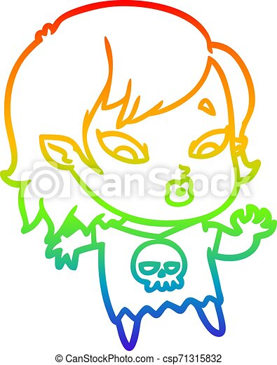 rainbow gradient line drawing cute cartoon vampire girl - csp71315832