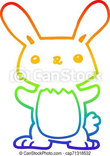 rainbow gradient line drawing cute cartoon rabbit - csp71318532