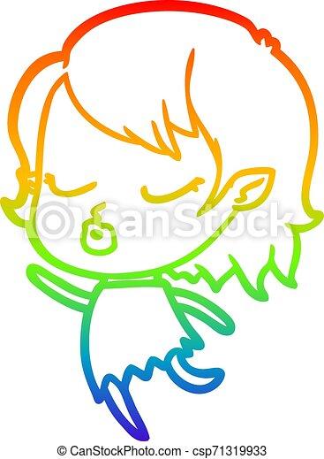 rainbow gradient line drawing cute cartoon vampire girl - csp71319933