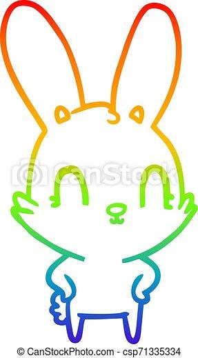 rainbow gradient line drawing cute cartoon rabbit - csp71335334