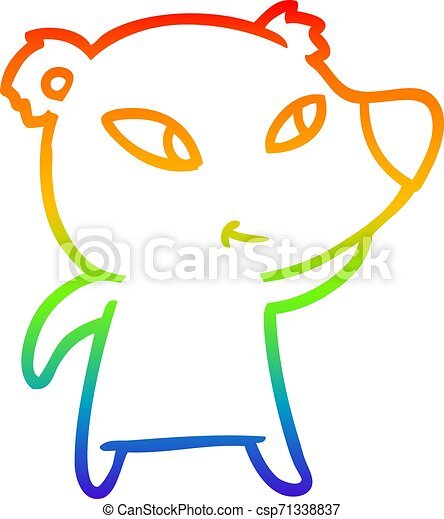rainbow gradient line drawing cute cartoon bear - csp71338837