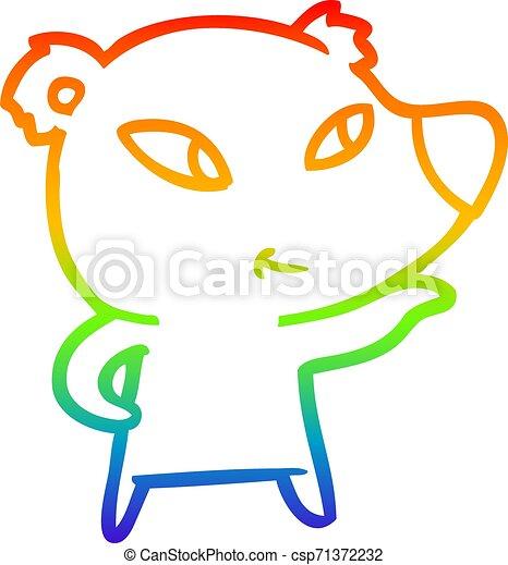 rainbow gradient line drawing cute cartoon bear - csp71372232