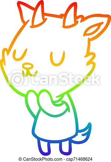 rainbow gradient line drawing cute goat - csp71468624